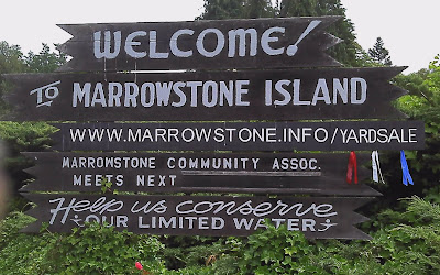 "MI Welcome sign with addition of ""/yardsale"" to ""www.marrowstone.info""."