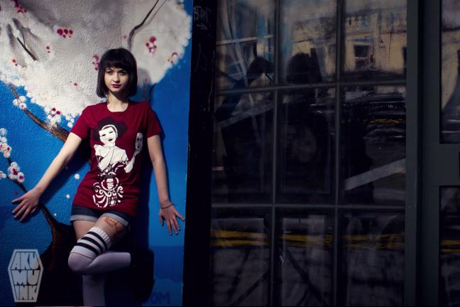 pinup, cosplay model, horror girl, goth girl, tattoo model, alternative model, goth model, akumuink, emo tshirt, japanese streetwear