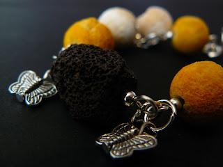 biżuteria decoupage - bransoletka z lawą