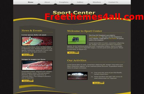 Free CSS Sport Center Website Template