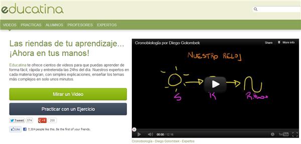 Educatina, vídeos educativos en español y ejercicios para apoyo escolar