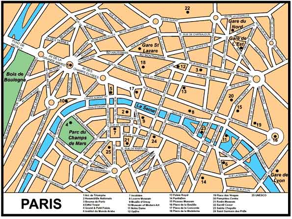 a basic map of paris streets forming stars around major monuments with the invention of the automobile these stars have also become risky death traps