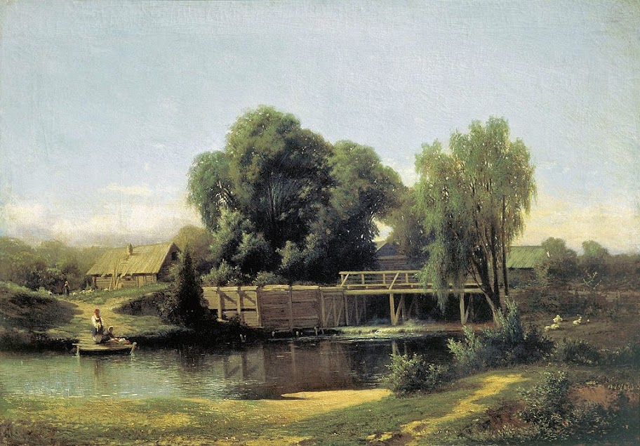 Lev Kamenev - Landscape with a Mill, 1864