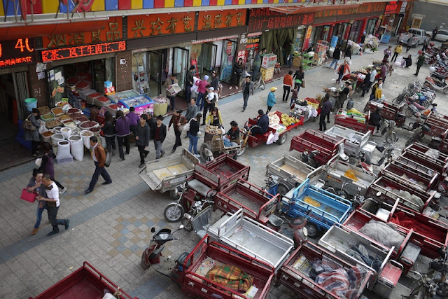 numerous motorized tricycle carts in Yinchuan, China