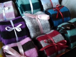 Custom WildCat Designs handmade stripy felted Merino lambswool scarves.