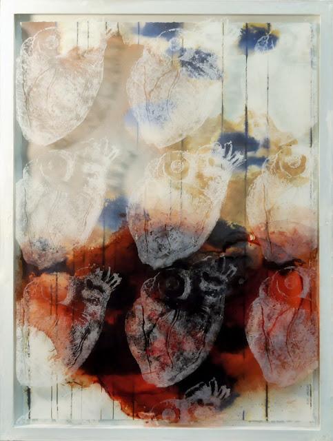 pintura Las navajas del silencio de Ángels González