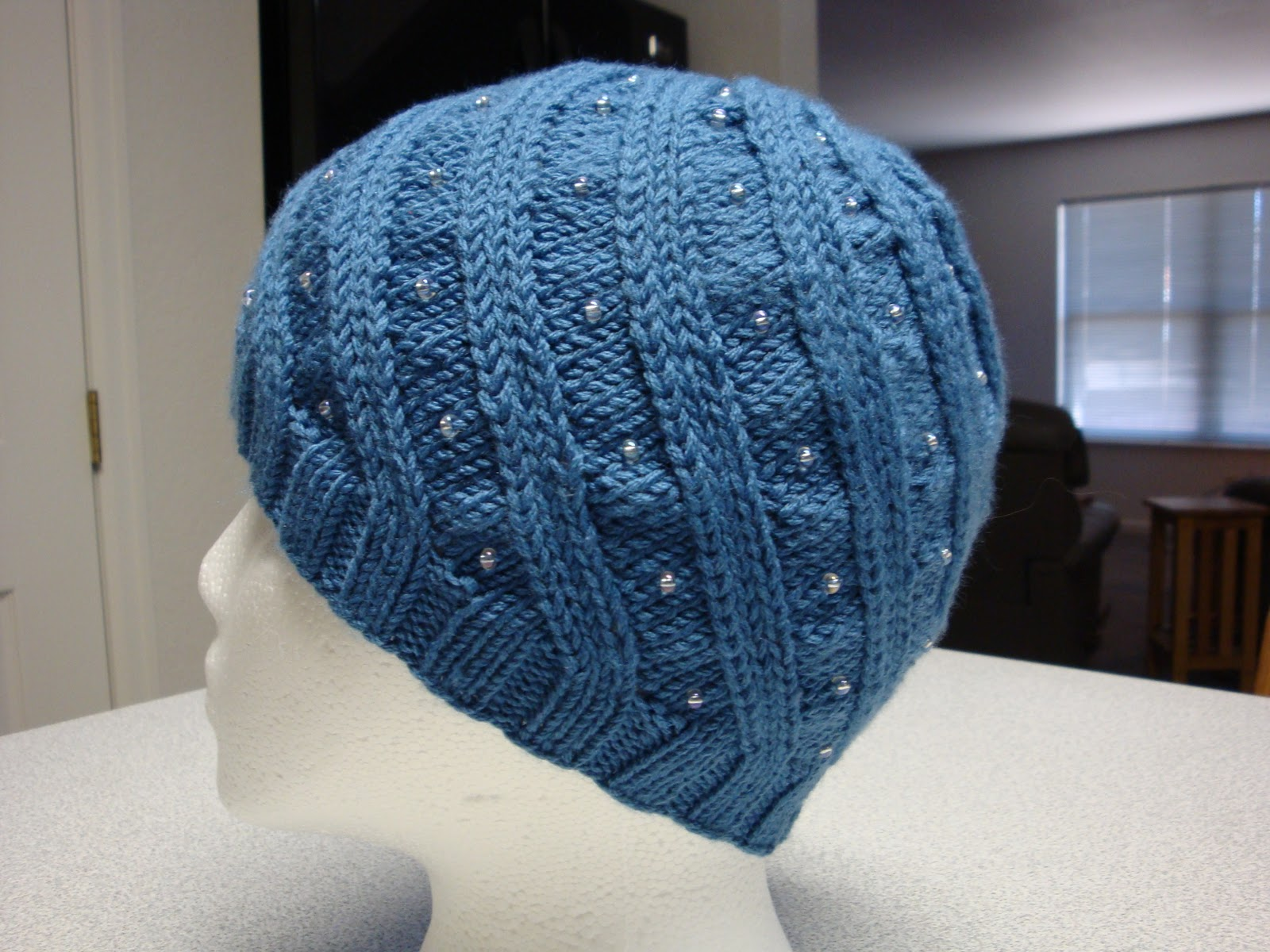 Kim\'s Knitting Korner: Odessa in Blue with Beads (2011 Chemo Hat #4)