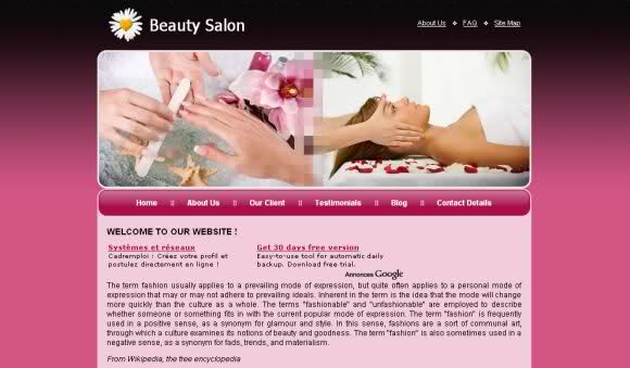 Free Pink Beauty Salon CSS Website Template
