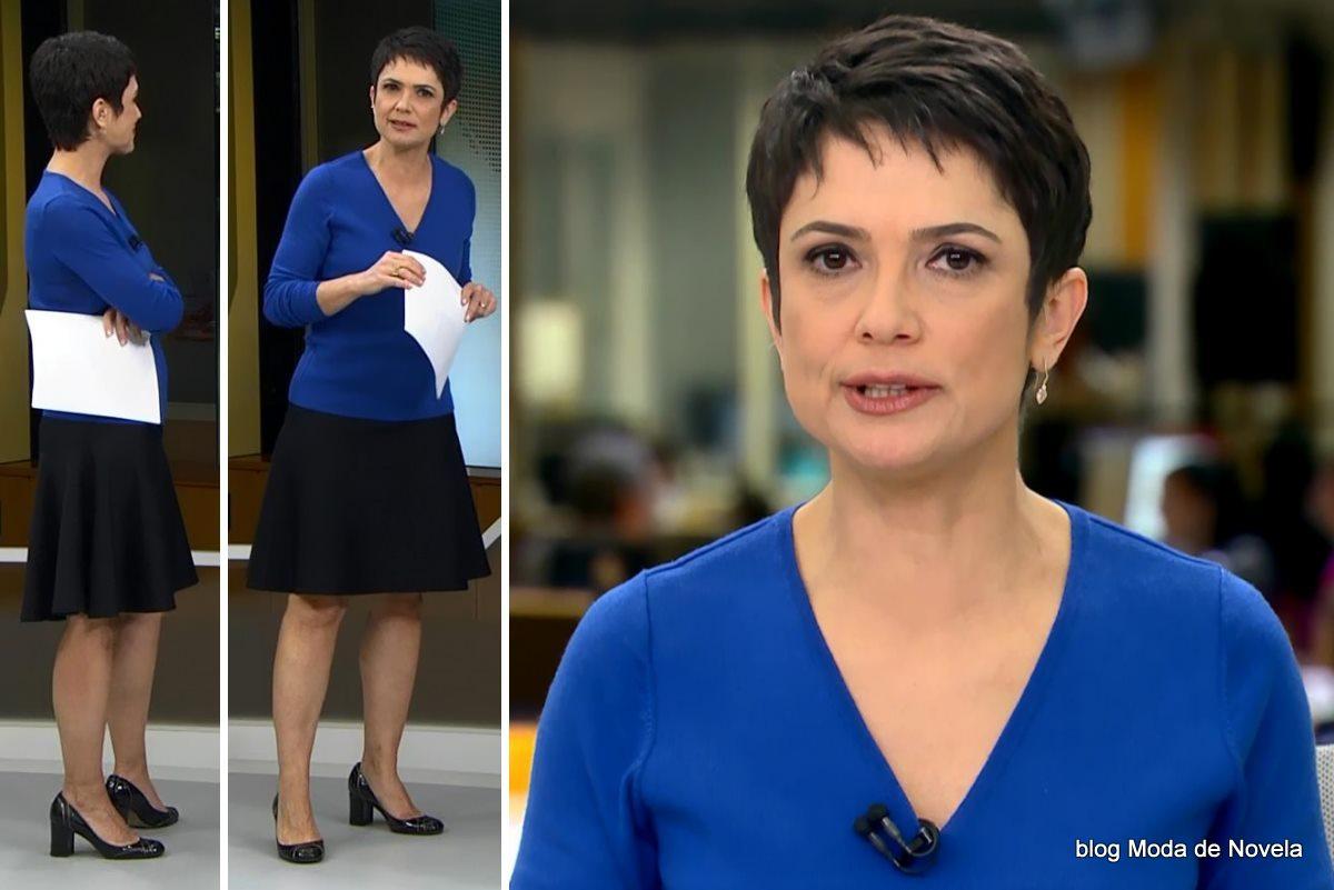 moda do programa Jornal Hoje - look da Sandra Annenberg dia 23 de maio