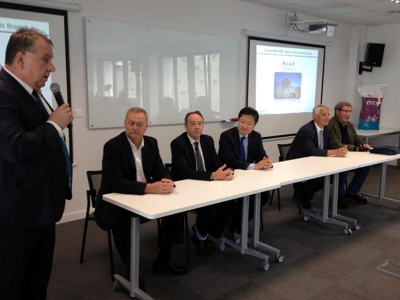 Rencontre entre le directeur général de la Banque de Chine en France et des entreprises agroalimentaires bretonnes le 1er juillet 2016 chez Olmix à Bréhan