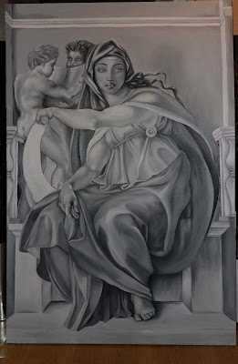 Work in progress at Grisaille underpainting stage, also known as monochrome. Showing full painting.
