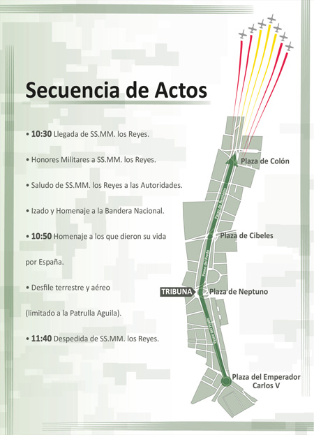 Desfile del 12 de octubre de 2012, Fiesta Nacional - Secuencia de actos