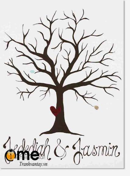 tranh in dấu vân tay hình cây ngày cưới đẹp