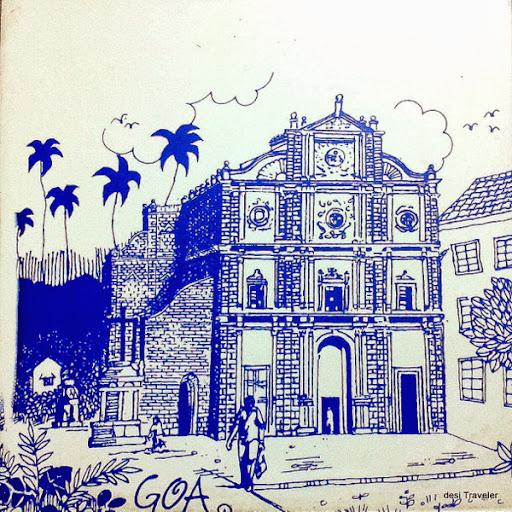 St Xavier's Church painted tile Goa