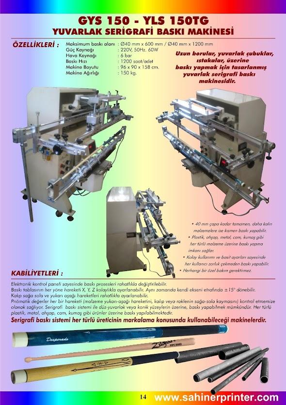 14-GYS 150 4x60cm Yuvarlak Serigrafi baskı Makinesi