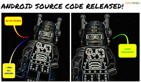 Android Source Code released, a lego minifigure comic strip made with Comic Strip It!