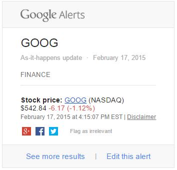 Google Alerts Finance