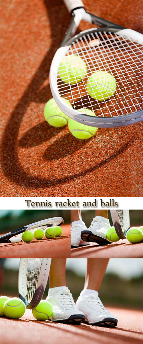 Stock Photo: Legs of athlete near the tennis racket and balls