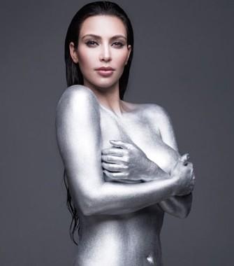 kim kardashian w cover pictures. kim kardashian silver paint w cover. kim kardashian w cover silver.