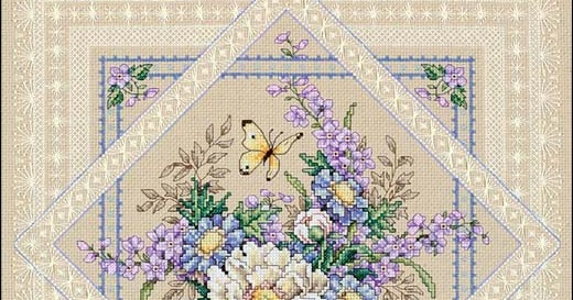 Flowers and Lace cross stitch pattern - Counted cross ...