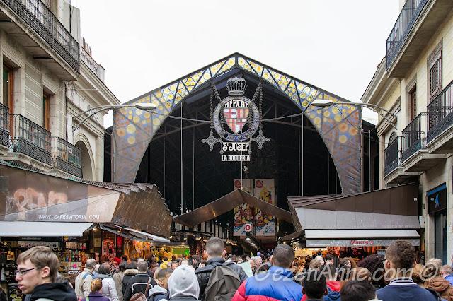 La Boqueria marketi La Rambla girişi, Barselona