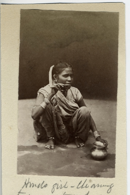 Indian Hindu Woman Cleaning Teeth - 1880's