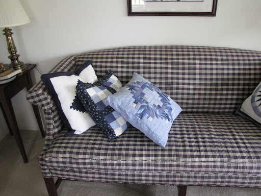 Blue pillows (I made the top - not as good - one).