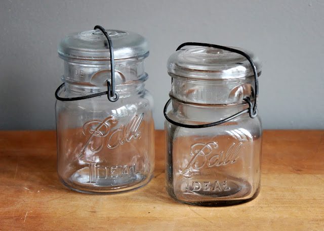 Antique pint-sized mason jars with wire closure available for rent from www.momentarilyyours.com, $0.75 each.