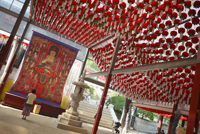 woman praying under many red lanterns at Bongeunsa Temple in Seoul