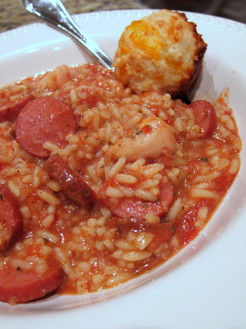 Slow Cooker Jambalaya - chicken, smoked sausage, tomatoes, chicken broth, cajun seasoning and rice - This is THE BEST! I love that it cooks all day in the slow cooker. Can add shrimp too.