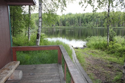 This small cove to the right of the cabin, when looking at it from the lake is a storm proof tie up in any condition.