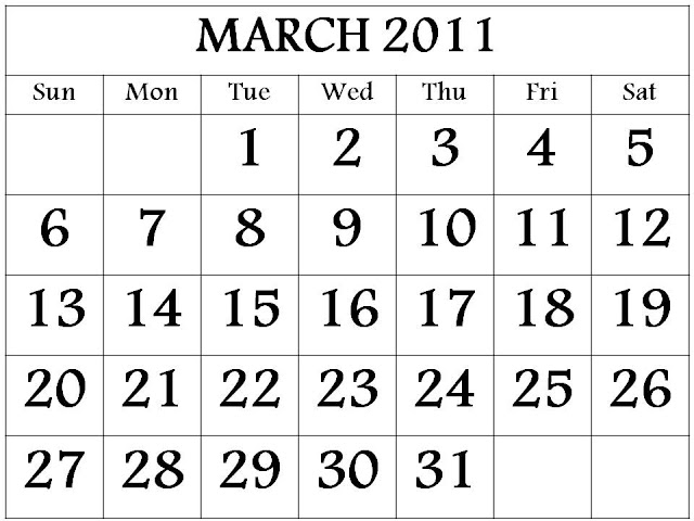 calendar 2011 template march. Free 2011 March Calendar
