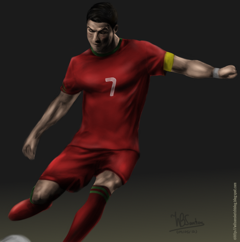 Digital painting of Cristiano Ronaldo, using GIMP Paint Studio.