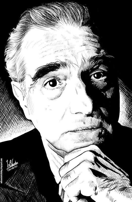 Ink drawing of Martin Scorsese, using Krita 2.4.
