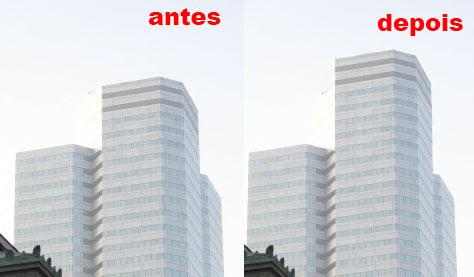 Antes e depois de aumentar o prédio com a Content-aware Move