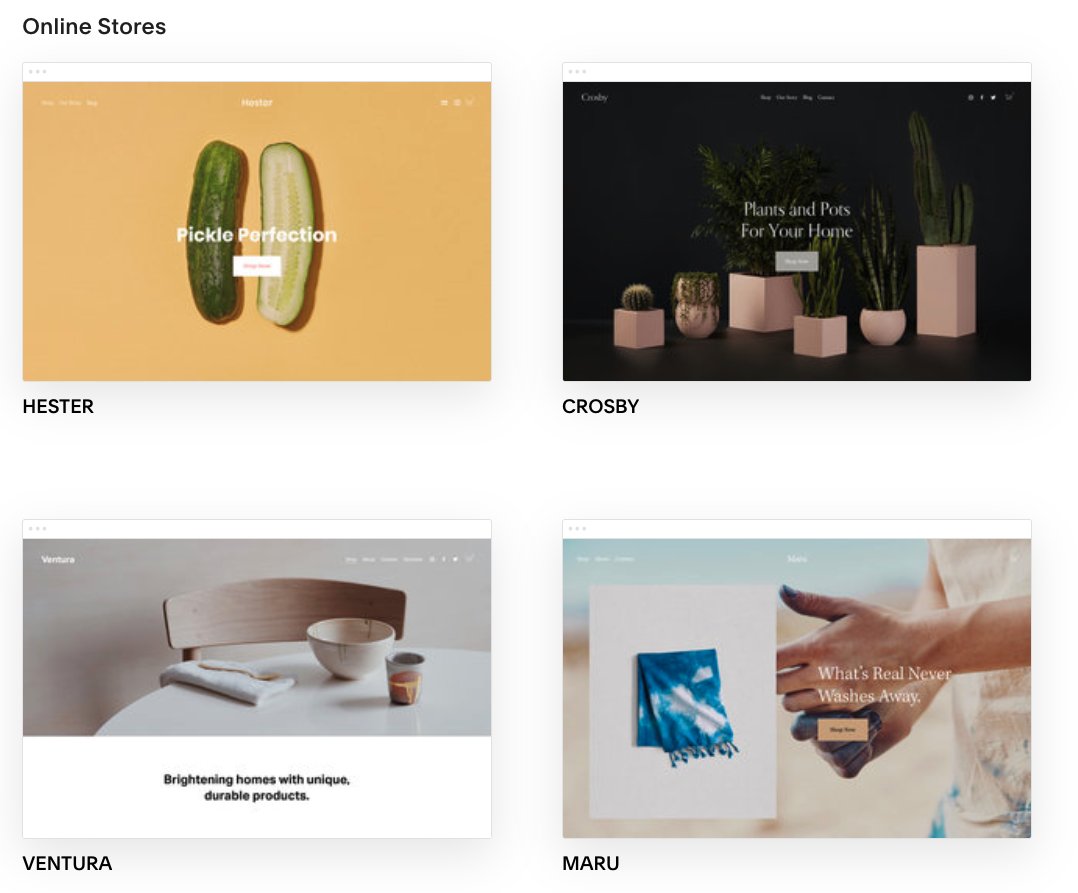 Squarespace Online Store Themes