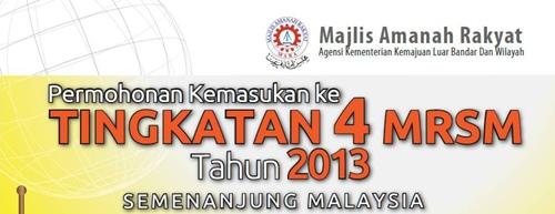 Permohonan kemasukan ke MRSM 2013