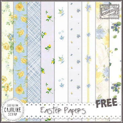 "Free scrapbook elements ""Easter Papers- CU4CU"" from Cajoline scrap"