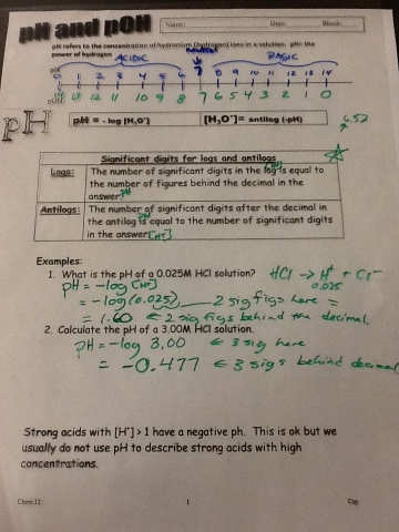 Chemistry 12: pH, pOH and mixing strong acids and bases