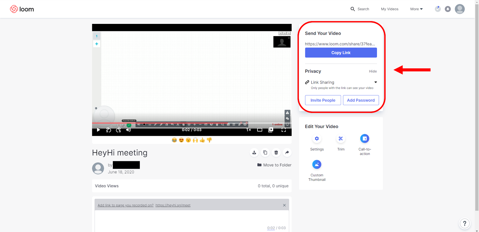 Share online whiteboard recording through Loom