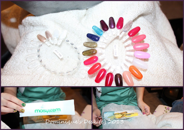Choosing the colors for the nails and the instruments that they would be using on us