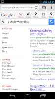Suchergebnissen mit ausgeklappter Sidebar