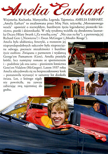 Ulotka filmu 'Amelia Earhart (tył)'