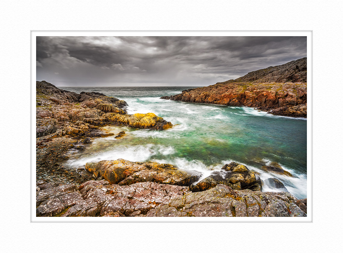 Stormy eveing on the Assynt seashore in Scotland