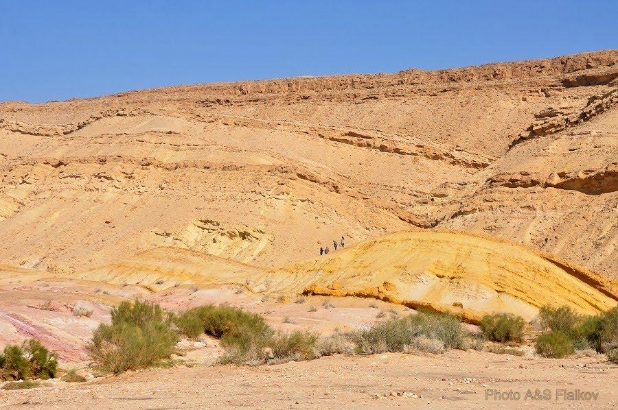 Экскурсия в пустыню Негев, цветные пески, желтый холм.