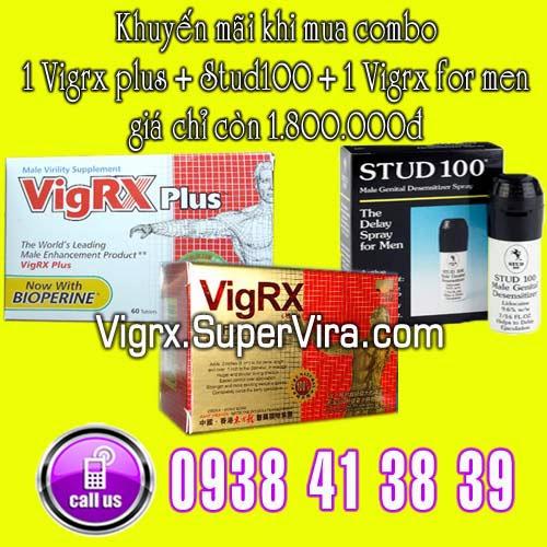 Vigrx Plus khuyến mãi đặc biệt Combo 1 Vigrx Plus + 1 Stud100 + 1 Vigrx For Men giá chỉ còn 1.800.000đ
