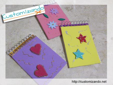 Customização de cadernetas ou bloquinhos de anotação utilizando restos de EVA