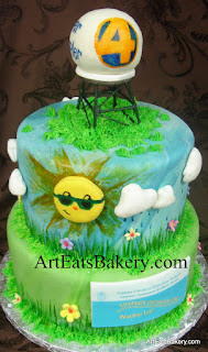 WYFF 4 Super Doppler weather cake with sun, clouds, grass and flowers