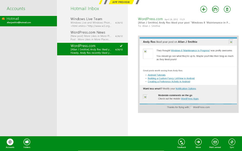Windows 8 Metro Mail app preview