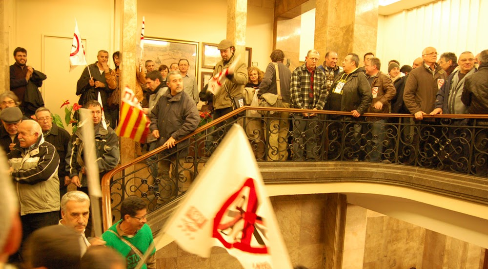 <s>The local petanque club</s> trade unionists fighting for <s>the young and unemployed</s> themselves, and fuck the rest, in Sabadell town hall in 2012.